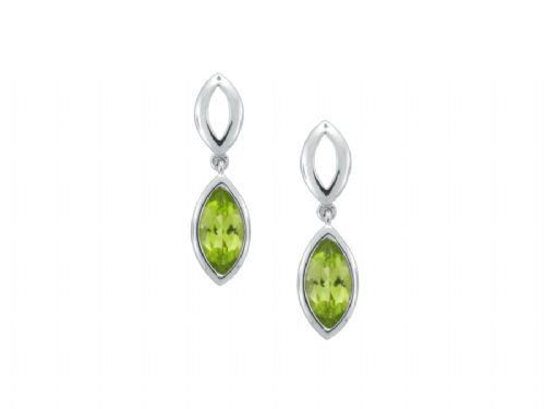 Marquise Shaped Peridot White Gold Drop Earrings